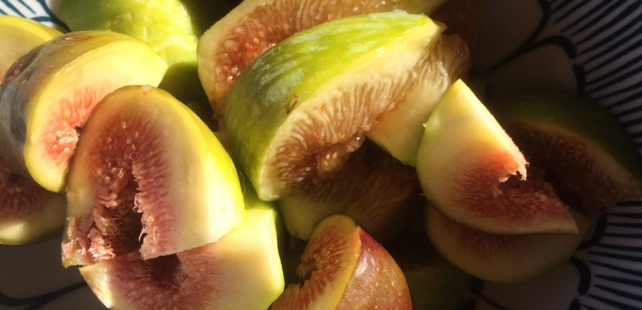 Sliced ripe syrupy figs in a bowl in the sunshine